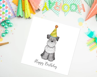Schnauzer Birthday Card - schnauzer - birthday card - blank greeting card - ideal for dog lovers