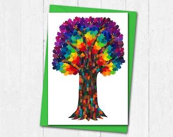 Rainbow tree card, Tree greeting card, Blank card, Tree of life card, Collage art card, Rainbow birthday card, Rainbow tree friendship card