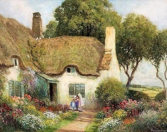 Three Girls Outside a Thatched Roof Cottage - Counted cross stitch pattern in PDF format