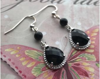Black Drop Earrings with Swarovski Pearls - Silver Glass Dangle Earrings - Elegant Dark Teardrop Earrings - Black Jet Crystal Earrings