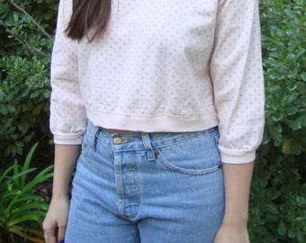 Vintage Cropped Cotton Sweatshirt with Paisley Print XS/S