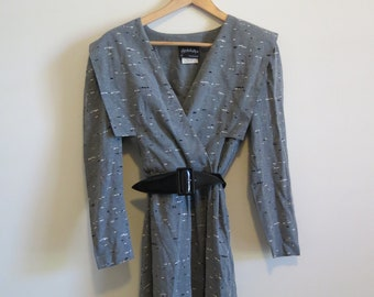 80s does 40s Speckled Belted Midi Dress - Wrap, Sleeved, AU 8-10