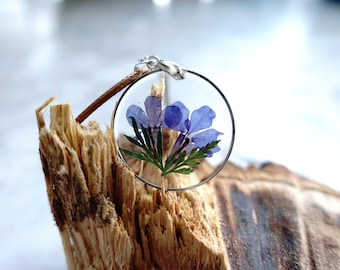 Floral botanical pendant with real pressed flower