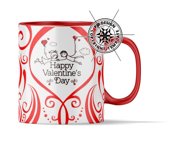 Valentines 10oz Mug Design Template for Sublimation or Waterslide ...