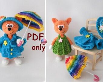 Crochet pattern - Fox with umbrella amigurumi animal (English)