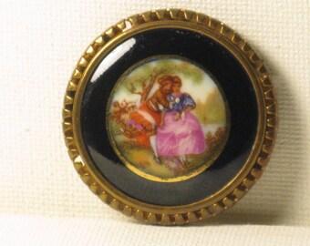 Vintage Limoges Porcelain Fragonard Courting Couple Brooch Pin (B-3-5)
