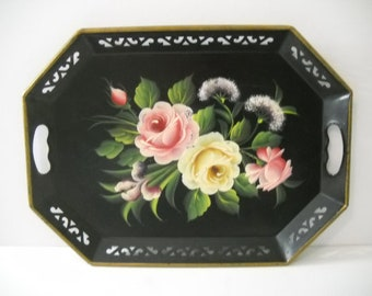 Tole Tray Hand Painted with Reticulated Rim and Handles
