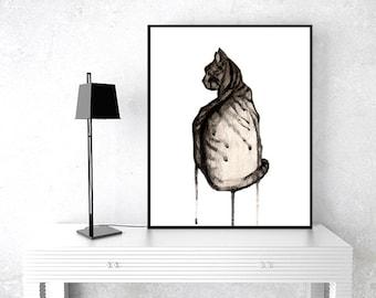 Cat art instant printable, cat art digital file, cat watercolor painting, cat illustration, cat downloadable file, cool cat art print