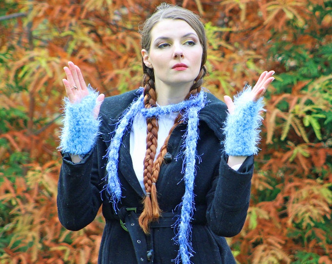 Fuzzy Skinny Scarf and Blue Fingerless Texting Gloves Set Long Soft Accesory  Gift for Girls, Teens or Women