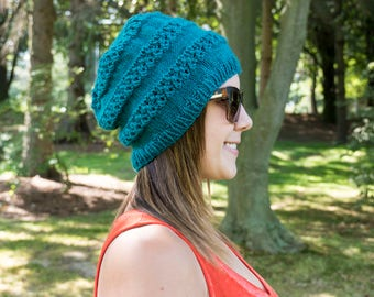 Turquoise Slouchy Knit Hat - Dark Turquoise Vegan Hat - Blue Hat - Hipster Hat - Hippie Hat Womens Tam - Mens Beanie - Gift For Her