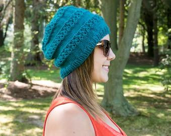 Türkis Slouchy stricken Hut - dunkel Türkis Vegan - blauen Hut - Hipster-Hut - Hippie Hut Womens Tam - Mens Mütze - Geschenk für Sie