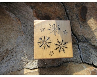 Craft Wood Wooden Rubber Stamp Snowflake Stars Wooden Rubber Stamper Stamp Craft Supply