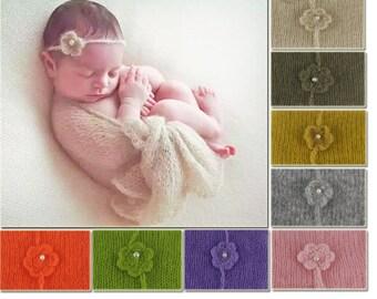 Baby Newborn Soft MOHAIR Wrap Swaddle Cheesec Headband Set Photography Prop