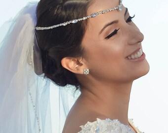 Bridal Forehead Band ~ Bridal Headband ~ Rhinestone ~ Swarovski Crystal Headpiece ~ Wedding Headband ~ Vintage Bridal ~ Gold ~ Rose Gold