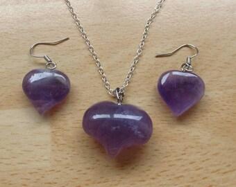 Amethyst gemstone Jewelry Heart set - puff heart polished Amethyst pendant-18 inch silver necklace-drop hang amethyst matching  earrings JS1