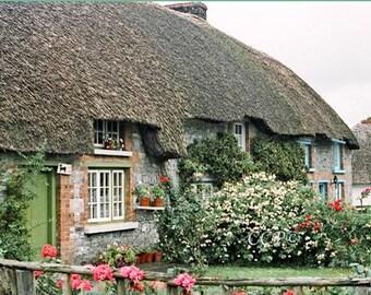 Green Door Fine Art Photograph, Irish Landscape Ireland Photography, Home Decor, Wall Decor, Thatched Cottage Flower Garden Stone Cottage