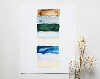 Cool Tone - Abstract Watercolor Print - 8 x 10
