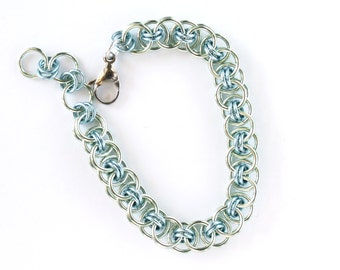 Seafoam Green and Sky Blue Helm Chainmaille Bracelet - Anodized Aluminum