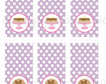 Pink Pancake Party- Lollipop Labels