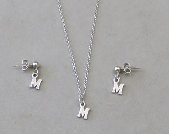 Tiny Initial M Necklace and Earring Set - Gold or Silver Plated