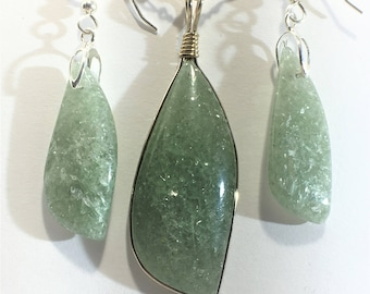 Green Aventurine Pendant Necklace - Sterling Silver Wire Wrap - Free Form - All Natural           S002