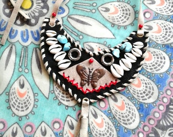 Native Inspired LEATHER NECKLACE ons of a kind