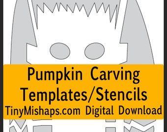 Halloween Icons Pumpkin Carving Stencil Template Pack - print at home digital download- cute and creepy pumpkin templates for Halloween