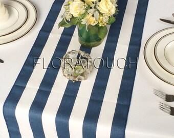 Navy Blue And White Striped Table Runner Navy Blue Edges