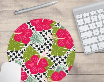Dark Pink Hibiscus Mouse Pad, Tropical Mouse Pad, Pattern Mouse Pad, Hawaii Mouse Pad (0040)
