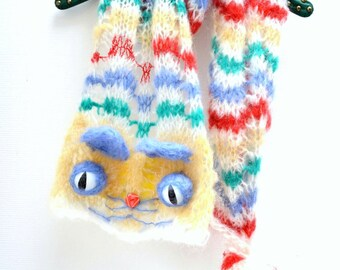 The Cheshire - Rainbow Cat striped Scarf - Chevron stripes - Mohair blend