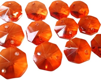 50 Orange 14mm Octagon Chandelier Crystal Beads 2 Holes
