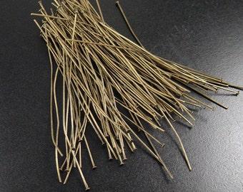 Bronze Head Pins 100 Headpin Antique Bronze 3-3/8 inch (80mm) Severely Discounted BIRD NEST 21 gauge NF (1062pin80z1)