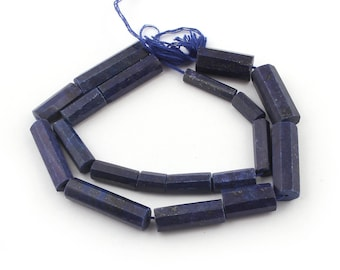 1 Long Strand Lapis Lazuli Faceted Tube Beads Briolettes - Lapis Lazuli Beads 8mmx6mm-26mmx7mm 13 Inches SB4003