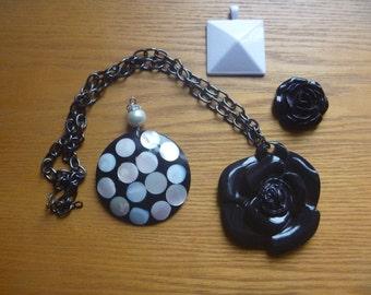 four pendants, destash, black and white pendants