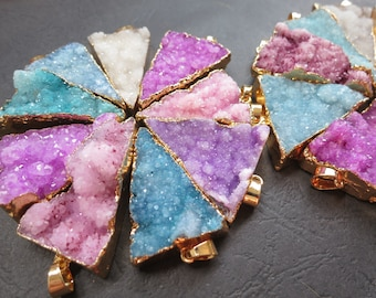 Blue Pink Purple Druzy Agate Triangle Pendant 24x37mm- 24x44mm - Gold plated- #30