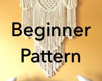 BEAUREGARD Macramé Pattern BEGINNER//Wall Hanging pdf DIY Swag Design Basic Instructions Macrame Fiber Arts Pattern Only