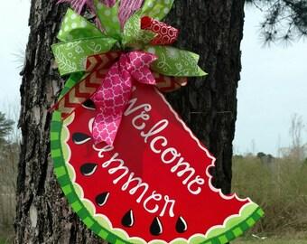 Watermelon Door Hanger, summer door hanger, wreath, hand painted door hanger