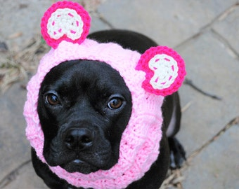 Dog Snood Pink Panda Bear Crochet MADE TO ORDER