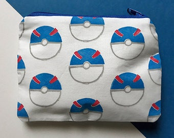 Hand Printed Pokemon Great Ball Coin Purse