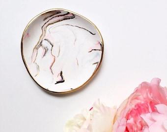 INLAID GOLD & PINK // Ring Dish, Jewelry Dish, Trinket Dish, Ring Holder