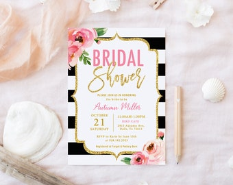 Floral Bridal Shower Invitation Template, Kate Bridal Shower Invite Black and White Stripe Invitation, Spade Inspired Bridal Shower Templett