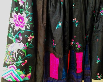 Gorgeous vintage bridal re-designed full skirt with Chinese embroidery: Peacock & peony