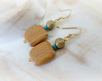 Blue turquoise simple wood earrings  Square earrings gift Dangle wood earrings Retro wooden jewelry  Wood earrings 5th anniversary gift