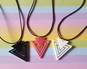 Triangle necklace, Triangle pendant, Acrylic triangle necklace, Geometric necklace, Triangle, Geometric shape, Black, Pink, White