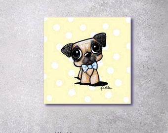 Fine Art Canvas PRINT KiniArt Pug Dog