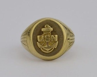10k Yellow Gold Vintage USN/United States Navy Locket Ring Size 7