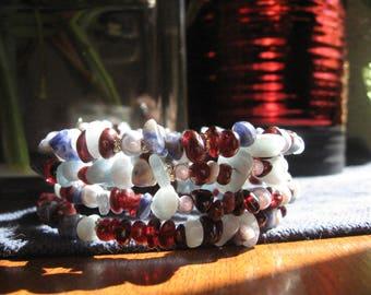 Garnet Aquamarine Memory Wire Bracelet