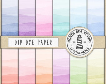 WATERCOLOR DIP DYE, Digital Paper, Rainbow Gradient, Dyed Colors, Dip Dye Watercolor Papers, Commercial Use, Coupon Code: BUY5FOR8