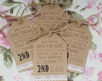 Rustic Kraft and Lace Save the Date Card - with twine and pearl detialing