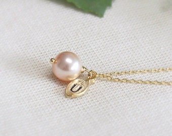 Swarovski Pearl necklace, Initial necklace, peach pearl necklace,Personalized necklace,Leaf initial, Pearl Charm, bridesmaid gift